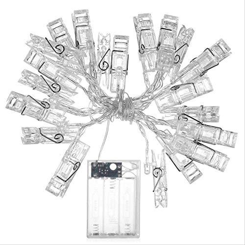 CFLFDC Kandelaar voor foto, muur, 20 LED's, waterdicht, lantaarn, waterdicht, ketting voor verjaardag, bruiloft, hotels, slaapkamer, decoratie, batterijvak, licht, wit, 20 (altijd knipperend)