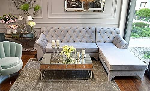 Sofá tapizado Glamour, sofá rinconera con función Cama Prada Gris 285cm