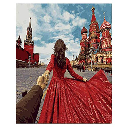 DIY Digital Painting,Hand-Painted Color Fill,Red Skirt,Living Room Oil Painting Decorative Painting 40X50Cm Zwwcj