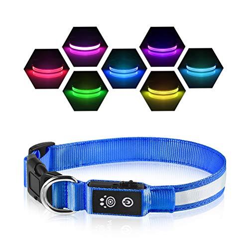 PcEoTllar LED Leuchthalsband Hunde Halsband USB Wiederaufladbar Wasserdicht 7 Farbwechsel Halsband Hund Klein Groß Mittel Super Helle Sicherheit für Die Nacht - Blau - L