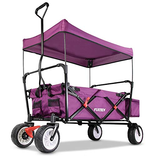 FUXTEC faltbarer Bollerwagen FX-CT350 Purpur - in weiteren 4 Farben erhältlich, klappbar mit Dach, Vorderrad-Bremse, Strand-Reifen, Hecktasche, für Kinder geeignet - Das Original mit Qualität!