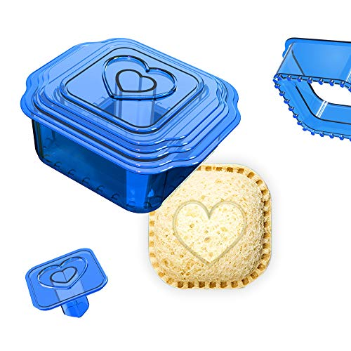 Khukam Sandwich Cutter and Sealer, Uncrustables Maker, Bread Sandwich Decruster for Kids Great for Lunchbox and Bento Box, Boys and Girls Kids Lunch(6-in-1),Blue