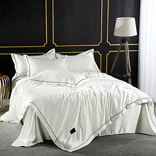 zlzty Silk Silk Double ice Silk Bedding,Single Duvet Cover,Brushed Cotton Sheets,Brushed Cotton Double Fitted Sheet@Z_1.5m (5 feet) Bed