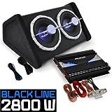 Aunba Car Audio HiFi System Set 'Black Line 140' Subwoofer Amplifier Built-In LED
