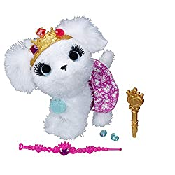 A toy stuffed dog wearing a crown and skirt.