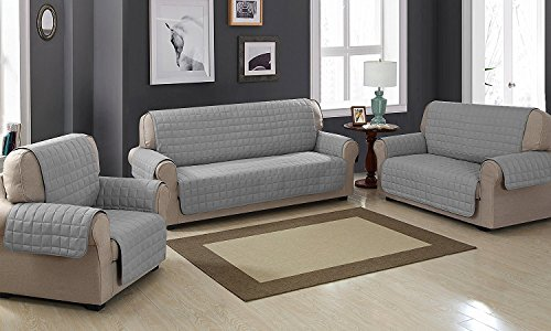 Viceroybedding Quilted Sofa Protector Throw Furniture Protector Cover Water Resistant (Three Seater, Grey)