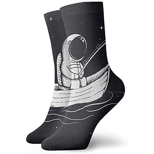 Gre Rry Unisexe Crew Sock Astronaut Fishing in Space Sport Athletic Socks Épais Nouveauté Chaussettes Crazy