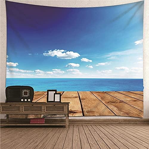 Aeici Tapices Pared, Tapiz De Tela Para La Pared Tapiz de pared Océano cielo Tapiz- Azul, 210x140CM