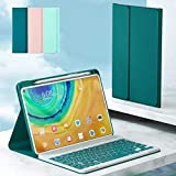 for Huawei Matepad 10.4 Keyboard Case+Mouse with Pen Slot Magnetic Keyboard Split Design, Matepad 10.4 inches Macaron Color Smart Leather Cover (B-Dark Green)