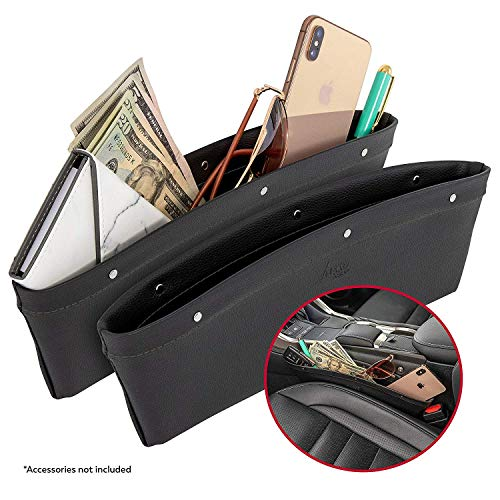 Lusso Gear 2 in 1 Car Seat Gap Organizer | Universal Fit | Storage Pockets Adjust | 2 Set Car Seat Crevice Storage Box | Helps Reduce Distracted Driving & Holds Phone Money Cards Keys Remote
