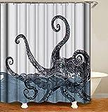YUYASM Octopus Shower Curtain Decor,Vintage Marine Kraken Sea Monster Tentacle Ocean Water Fabric Bathroom Curtains,Waterproof Polyester Bath Curtain Set with Hooks 70x70 Inch