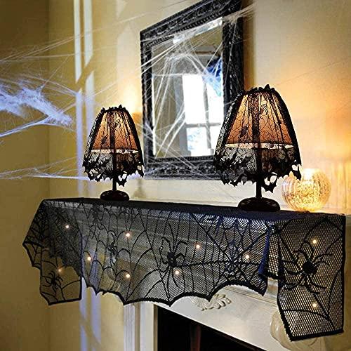 Lurowo - Decoración de Halloween de tela de araña, 1 pieza negra de encaje, tela de araña, chimenea, abrigo con 2 mantas de lámpara, tela de chimenea de encaje para fiesta de Halloween y carnaval