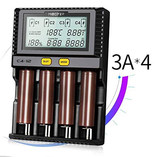Batterie ladegerät, Akku Batterieladegerät Universal Ladestation LCD-Display 4 Schacht Plug für Li-Ion IMR Ni-MH Ni-Cd AAAA AAA AA Batterien Akku