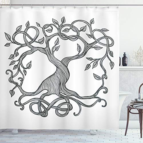 Ambesonne Celtic Shower Curtain, Single Tree Life Swirly Long Branchesnd Roots European Theme, Cloth Fabric Bathroom Decor Set with Hooks, 70' Long, Charcoal Grey White