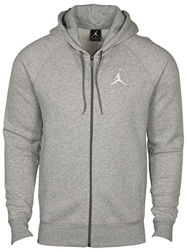 Nike Jordan Hombres de AJ Jumpman Full Zip con capucha Baloncesto-Heather Grey-Large