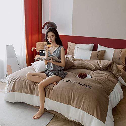 Bedding-LZ bettbezug 200 x 220,Flanell Fleece Bettbezug verdickt Baby Fleece Bettbezug Fleece Kissenbezug B_1,5 m Tagesdecke (4 Stück)