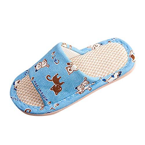 VECDY Zapatos Bebe Verano 2019, Zapatillas De Lino De Dibujos Animados Unisex para Niños Pequeños para Niños Pequeños para Niños Zapatos Transpirables De Casa Moda Fresco Simple (Azul,30-31)
