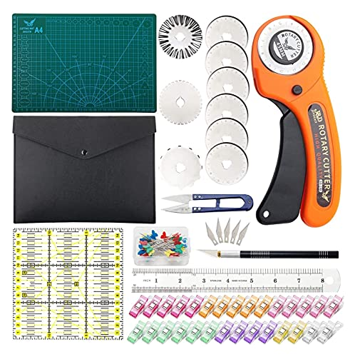 Conjunto de cortador giratorio - Kit de acolchado incl. Cortador de tela de 45 mm, 8 cuchillas de reemplazo, estera de corte A4, regla de acrílico y clips de artesanía - Ideal para la elaboración, cos