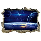 DNVEN 23 inches x 15 inches Planets Space Clouds Sun Porthole Window Milky Way Galaxy 3D Window View Wall Arts Decals Decors Removable Stickers Galaxy Space Planet