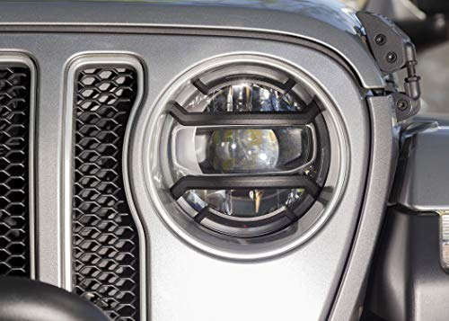 Rugged Ridge 11230.21 Elite Euro Headlight Guard Kit, Black, Pair for 2018-present Jeep Wrangler JL/JLU and Gladiator JT
