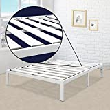 Mellow Rocky Base E 14' Platform Bed Heavy Duty Steel White, w/ Patented Wide Steel Slats (No Box Spring Needed) - King