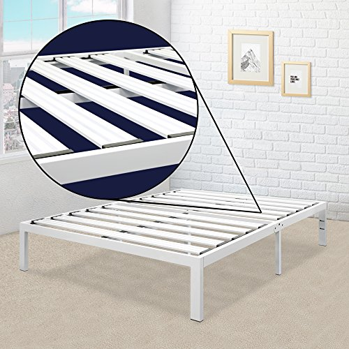 """Mellow Rocky Base E 14"""" Platform Bed Heavy Duty Steel White, w/ Patented Wide Steel Slats (No Box Spring Needed) - Queen"""