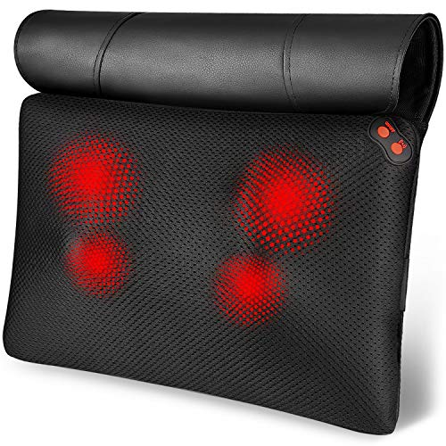 Back Massager, WOQQW Shiatsu Back and Neck Massager, Deeper Tissue Kneading Massage Pillow with Heat for Shoulders,Waist,Legs,Foot, Body Relieve Muscle Pain - Best Gift for Women/Men/Dad/Mom