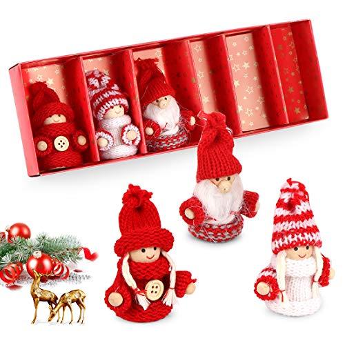 O-Kinee Weihnachtswichtel aus Holz, 6er Set Strick Baumanhänger Weihnachtsanhänger, Weihnachtsdekoration Weihnachten Schmuck Deko Niedlich Weihnachtspuppe 8 cm in Geschenkbox