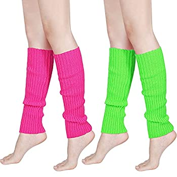 80s Women Knit Leg Warmers Ribbed Leg Warmers for Party Accessories  Rose Red Fluorescent Green 2