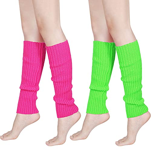 80s Women Knit Leg Warmers Ribbed Leg Warmers for Party Accessories (Rose Red, Fluorescent Green, 2)