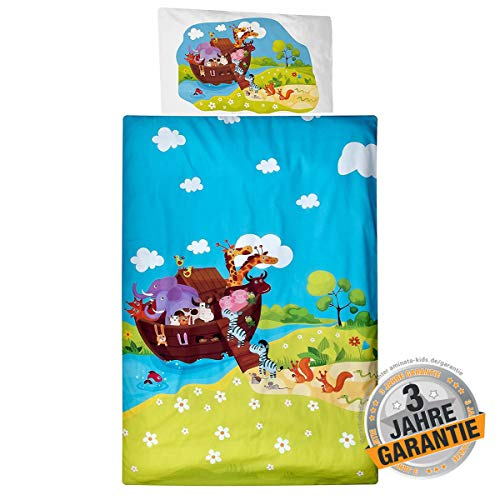 Aminata Kids süße Kinderbettwäsche mit Tieren 100x135 cm + 40 x 60 cm aus Baumwolle mit Reißverschluss, Kinder-Bettwäsche-Set mit Tier-Motiv ist weich, Giraffe, Elefant Arche Noah Zoo-Tiere