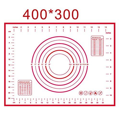 Fairlove Tapis De Cuisson Tapis Silicone Pâtisserie Reutilisable Rouge avec Mesure (30 x 40 cm)