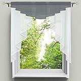 NIBESSER Scheibengardine Transparenter Voile Küchenvorhang Tunnelzug Kurzstore Küche Kleinfenster Gardine 1 Stück
