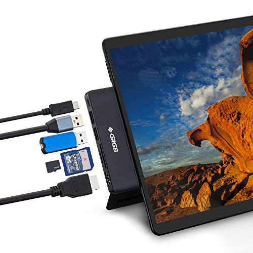 Surface Pro X Docking Station,SSS·GRGB USB C Hub HDMI Adapter 4K with 2 USB 3.0 Ports,USB C Data Transfer Port,SD/TF Card Reader for Surface Pro X Accessories (Black)