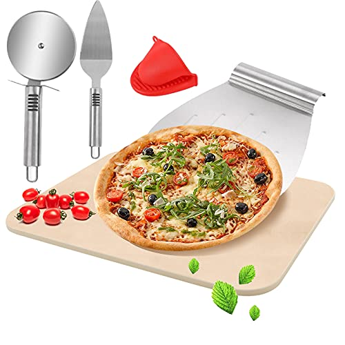 BOYO Piedra para pizza para horno, juego de piedra para pizza para horno y barbacoa, con espátula para pizza + espátula de transferencia + clip antiquemaduras.