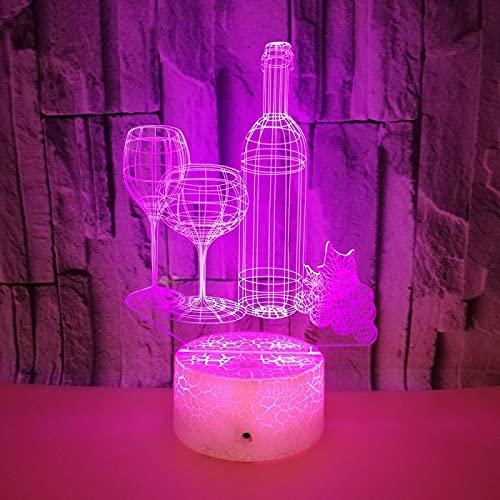 Yyhmkb Despertador Para Niños Lights Luces A Pilas Luces Armario Cambio Lámpara De Mesa 3D Colorida, Botella De Vino, Luz Nocturna 3D, Control Remoto Táctil, Regalo Para El Hogar, Luz Nocturna 3D