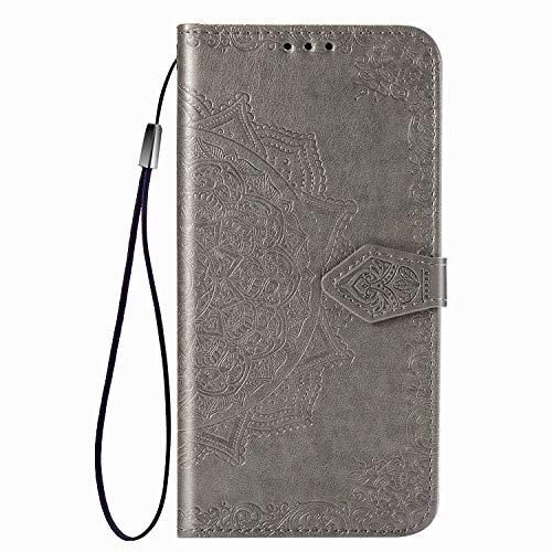 Fertuo Hülle für Poco X3 Pro / X3 NFC, Handyhülle Leder Flip Hülle Tasche mit Kartenfach, Magnet & Standfunktion [Mandala Muster] Handy Schutzhülle Ledertasche für Xiaomi Poco X3 NFC, Grau
