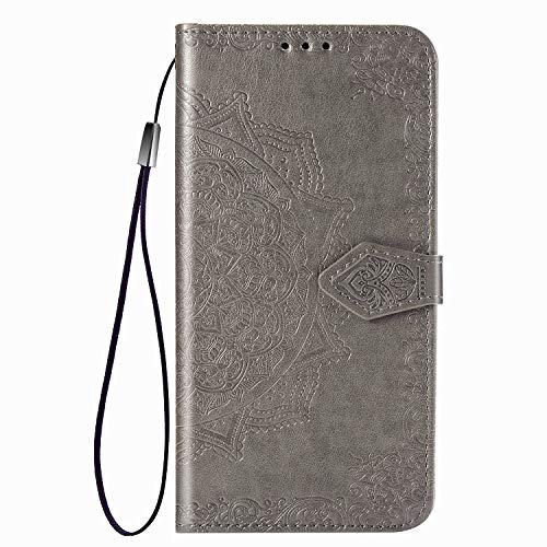 Fertuo Case for Asus Zenfone 7 ZS670KS, Premium Leather Flip Wallet Case with [Card Slots] [Kickstand] [Hand Strap] Mandala Flower Embossed Shockproof Cover Case for Asus Zenfone 7 ZS670KS, Gray