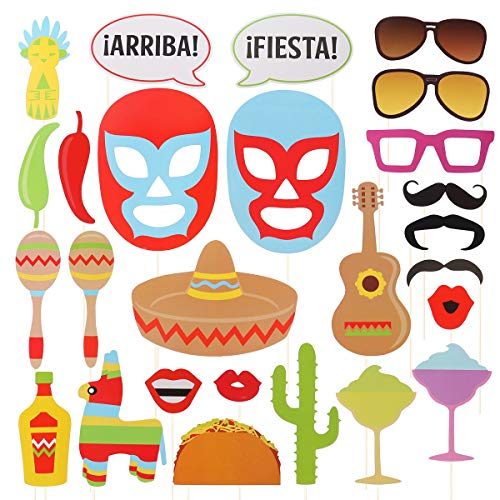 Amosfun 26 Piezas de Accesorios para Cabina de Fotos de Fiesta de México para Carnaval de Fotos de Bricolaje Selfie Fotos para Fiesta de cumpleaños, Baby Shower, Boda