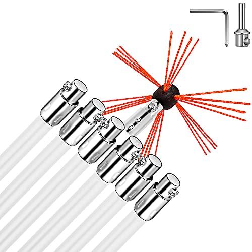 VEVOR Chimney Sweep Kit 20FT Length, Chimney Brush Kit with 6 Nylon Flexible Rods, Rotary Chimney Cleaning Kit Driven by Drill, Chimney Cleaning Tool Kits for Sweeping Fireplace Flue