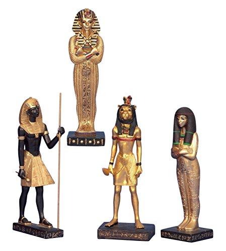 Unbekannt 4 Stück ägyptische Figuren Maahes Kleopatra Tutench Amun