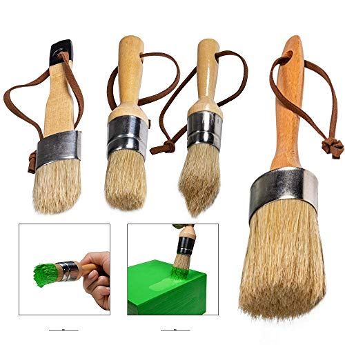 Chalk Paint Brush Set,4 Pieces Chalk & Wax Furniture Stencil Brushes Waxing Tool Natural Bristles Brush for Home Decor,DIY Art Crafts Painting Project