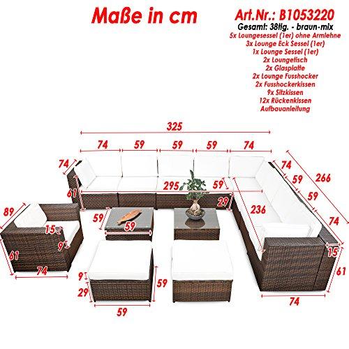 XINRO® erweiterbares 38tlg. Lounge Möbel Set Ecksofa Polyrattan - braun-Mix - Gartenmöbel Sitzgruppe Garnitur Loungemöbel XXXL - inkl. Lounge Ecke + Sessel + Hocker + Tisch + Kissen - 3