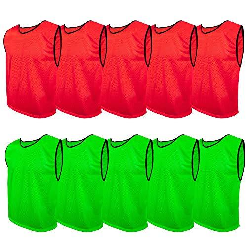 SPORTSBIBS Fußball Leibchen Set 10 Stück: 2 Farben - 5 von jeder Farbe, für Kinder und Erwachsene, Markierungshemd-Trainingsleibchen ohne Logo, Team-Spiel Bibs für Herren Damen Senioren Junioren