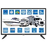Autocaravanas Cravana Camper Barco 12v 24 Pulgadas 61cm LED Full HD Digital TV DVB-T2/C/S2 TDT, Cable, Satélite TV 12V 220V USB PVR & Reproductor Multimedia, VGA & HDMI Monitor de PC por Unispectra®