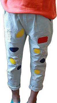 Vaqueros Elasticos Pantalon Jeans Para Ninas Rotos Tejanos Pantalones Casual Pantalones Largos De Mezclilla Amazon Es Deportes Y Aire Libre