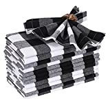 Cloth Dinner Napkin Gingham Plaid Check Fabric-18X18 Black White, Wedding Napkins, Cocktails Napkins, Fabric Napkins, Cotton Napkins, Mitered Corners & Generous Hem, Dinner Napkins Set of 12
