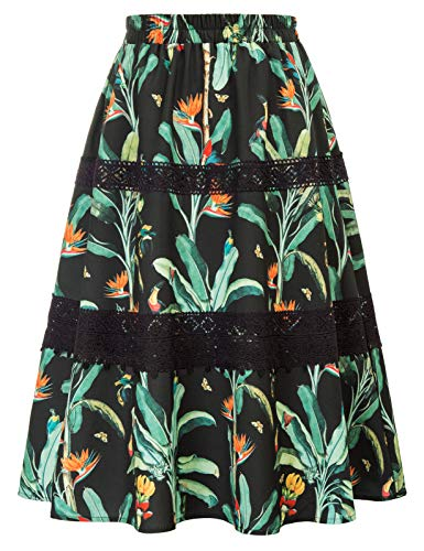 GRACE KARIN Women's Boho Floral Print High Waist Pleated A Line Midi Skirt Lace Swing Flared Skirt Black L