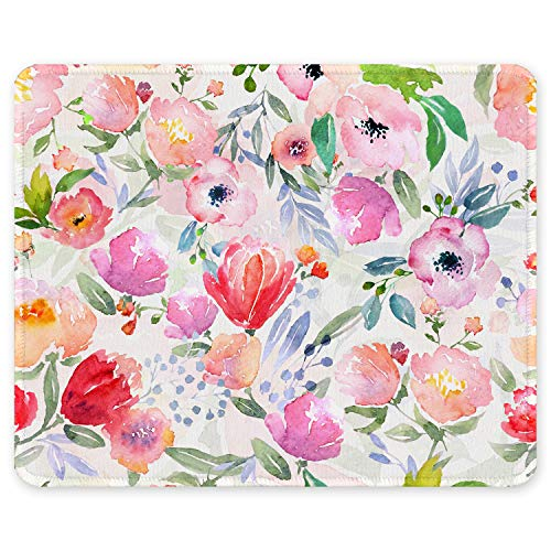 Auhoahsil Mouse Pad, Square Floral Design Pink Daffodils Anti-slip Rubber Mousepad with Durable Stitched Edges for Gaming Office Laptop Computer PC Women, Cute Custom Pattern, 11.8 x 9.8 Inch, Flowers