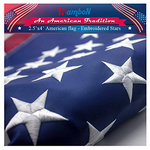 RamboN US American Flag - 2.5x4 FT American Flag, UV Protected, Embroidered Stars, Sewn Stripes.
